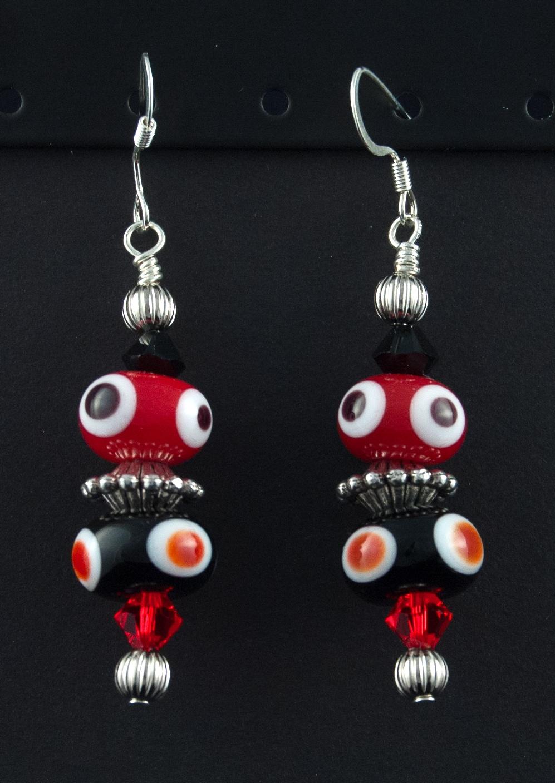 Black Red White Polka Dot Earrings